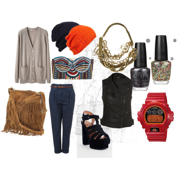 bag, black, blue, brown, bustier, cardigan, chinos, clock, clothes, give me, glitter, gold, necklace, outfit, pants, shose, west, wish