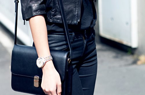 bag, black, classy, cool, fashion, jacket, leather, outfit, trousers, watch