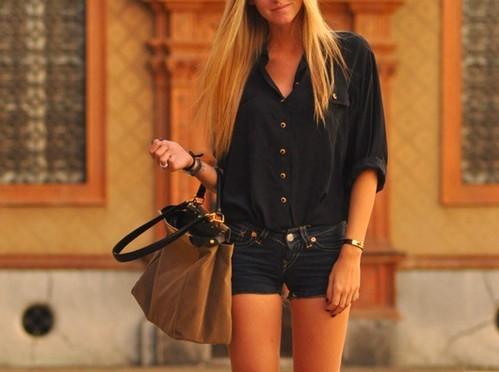 bag, blonde, fashion, purse, short shorts, style