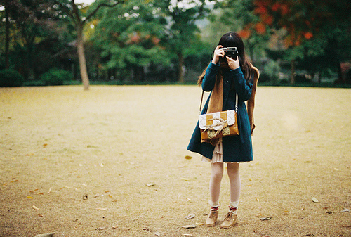 bag, blue, brunette, camera, dress