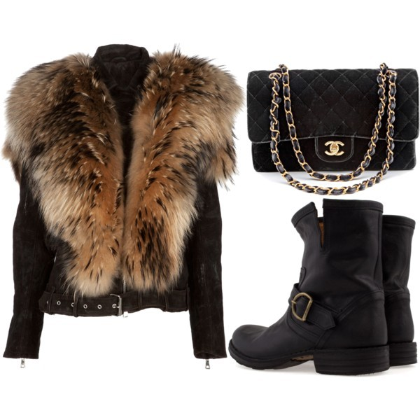 bag, boots, chanel, collage, fur