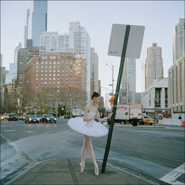 ballerina, beautiful, city, girl, pointe, sign, traffic, white