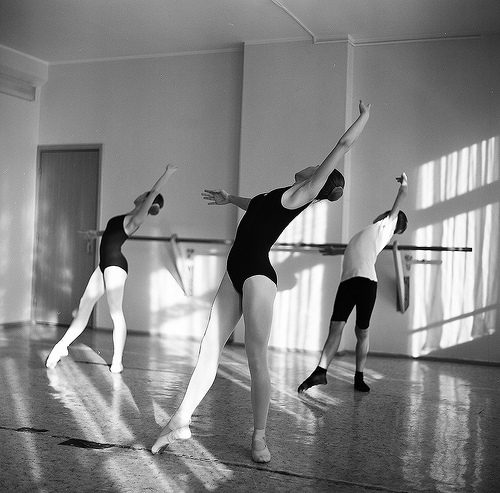 ballet, ballet class, black and white, boy, dancers, girls, leotards