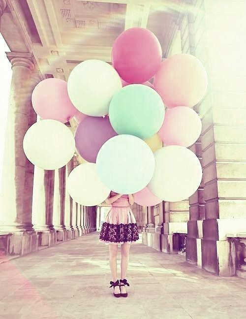 ballon, ballons, black, dress, girl, green, pillors, pink