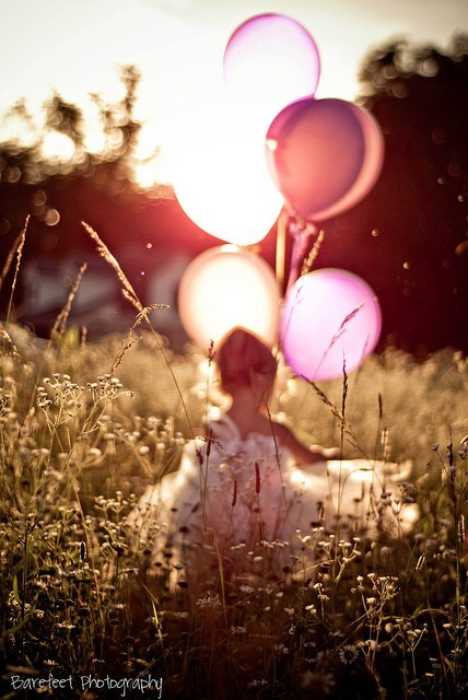 balloons, bloons, dress, field, girl