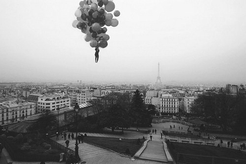 b&w, balloons, black & white, black and white, city, eiffel tower, fly, flying, france, paris, people, photography
