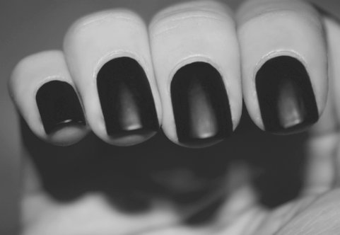 b&w, black and white, black nail, black nails, finger, fingers, hand, nail, nail polish, nails
