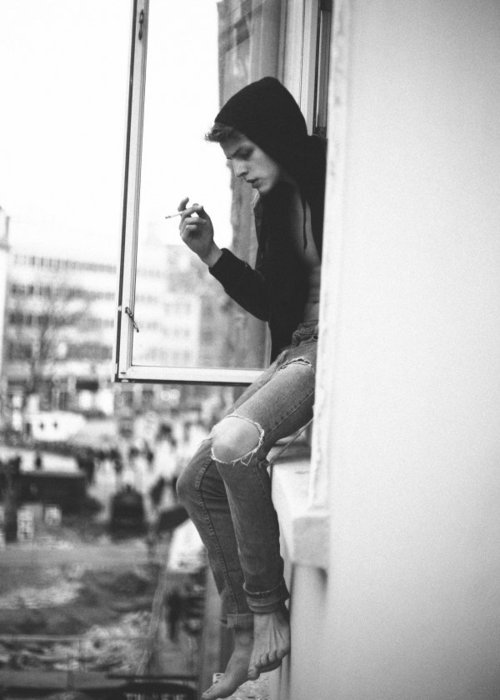 b&w, black and white, boy, cigarette, jeans, smoke, smoker, smoking, trash, view, window