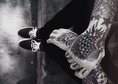 b&w, black and white, boy, tattoo, vans