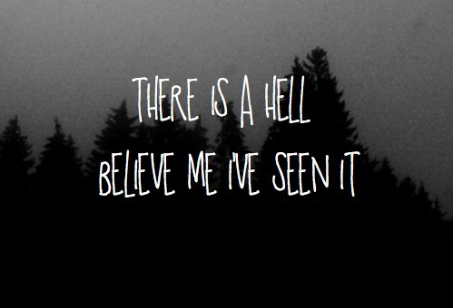 b&w, black and white, bring me the horizon, forest, hell, text, trees
