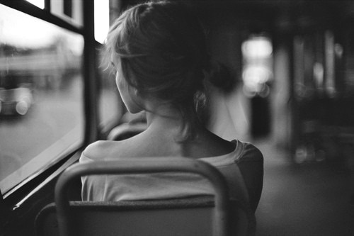 b&w, black and white, bus, girl, sad