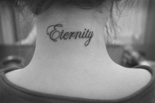 b&w, black and white, eternity, neck, neck tattoo