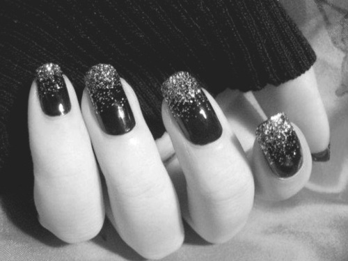 b&w, black, black and white, black nail, black nails, fashion, finger, fingers, glitter, hand, nail, nail art, nails