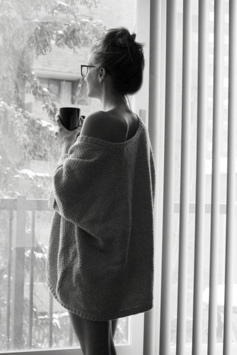 B w coffee cup girl glasses image 403541 on for Sleeping with window open in winter