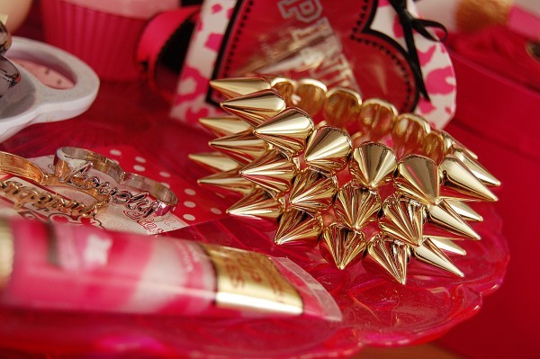 bangle, girly, gold, lip gloss, pink, spikes