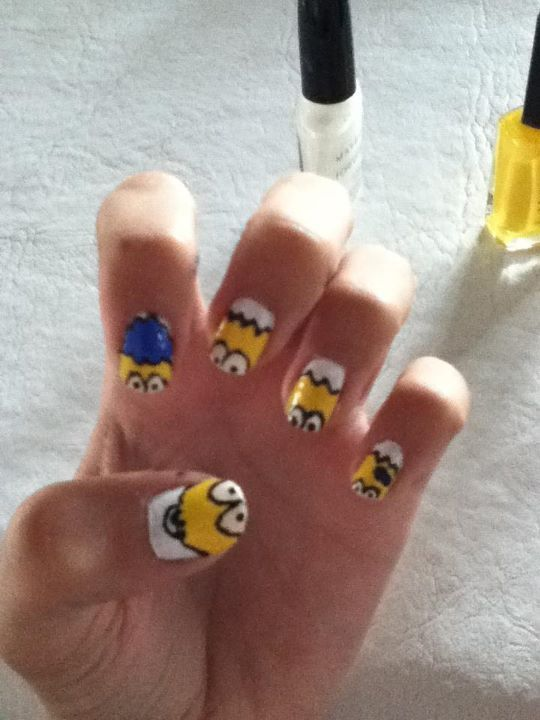 bart, homer, lisa, maggie, marge, nail art, nails, simpsons, the simpson, yellow