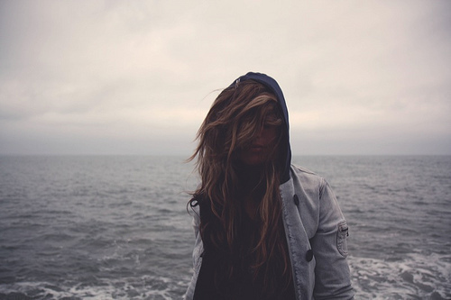 #beach, beautiful, blown, cute, girl, hair, nature, nieznane, ocean, photography, pretty, sweater