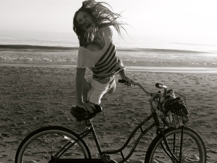 beach, bike, black and white, cool, girl
