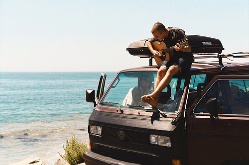 beach, black, boy, coast, guy, hipster, play, sea, man, music, life, pretty, van, ocean, play guitar, photography
