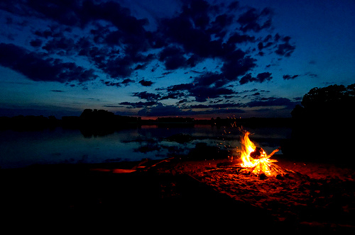 beach, clouds, fire, lake, photography