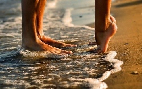beach, feet, foam, ocean, sand