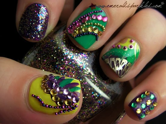 beads, crystals, glitter, gold, green, lacquer, nail art, nail lacquer, nail polish, nails, polish, purple, rhinestones, yellow