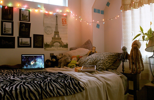 beautiful, bed, bedroom, cute, lights