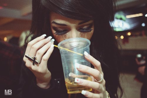 beautiful, black hair, cross ring, drink, drinking, eyebrows, eyelashes, fake eyelashes, fake lashes, french nails, girl, lashes, make up, melissa marie, melissa marie green, nails, photo, photography, pretty, ring, scene