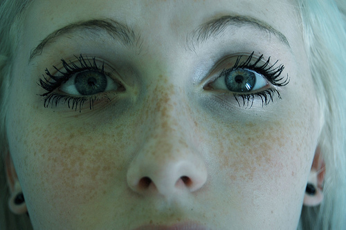 beautiful, blond, cute, eyes, freckles, girl, lashes, love, mascara