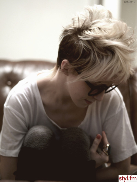 beautiful blonde girl glasses short hair image on Favim