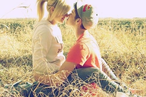 beautiful, blonde, kiss, love, photo