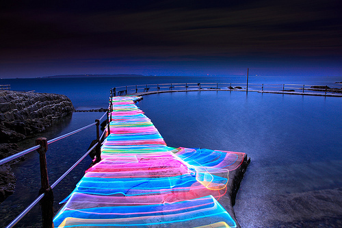 beautiful, blue, bridge, colourful, cool, lake, neon, photography, pink, sea, see