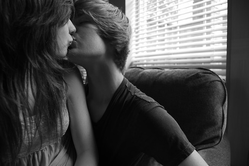 beautiful, boy, brown hair, girl, kiss