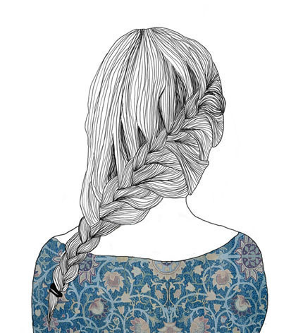 beautiful, braid, draw, hair, illustration