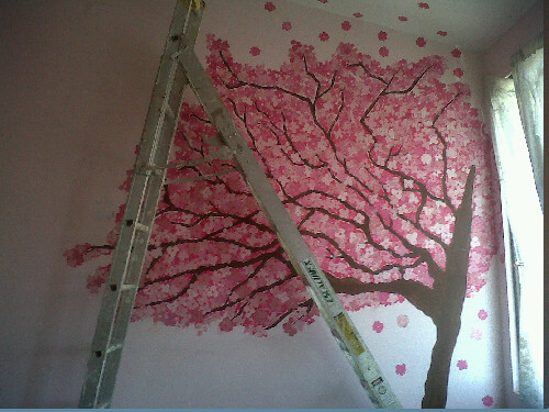 beautiful, climb, cute, gardraws, nice, paint, pink, stairs, steps, thinking, tree