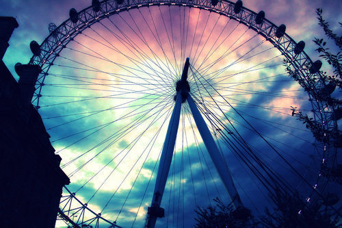 beautiful, colorful, ferris wheel, roda gigante, sky