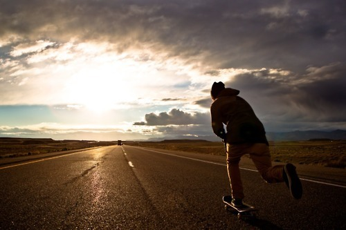 beautiful, cool, nice, road, sk8, skate, skateboarding, skater, sky, sunset