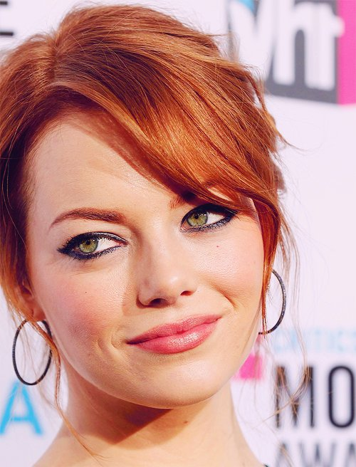 beautiful, earrings, emma stone, eyes, face