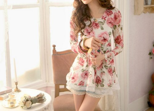 beautiful, fashion, floral, girly, hair, korean fashion, pretty, shorts, style