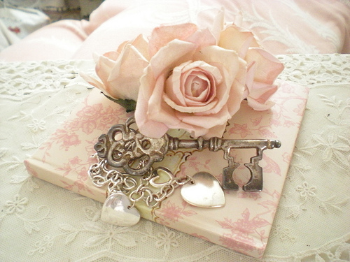 beautiful, fashion, girly, heart, key, me plus you, pink, pretty in pink, romantic, rose, silver, style, vintage, whatever is best