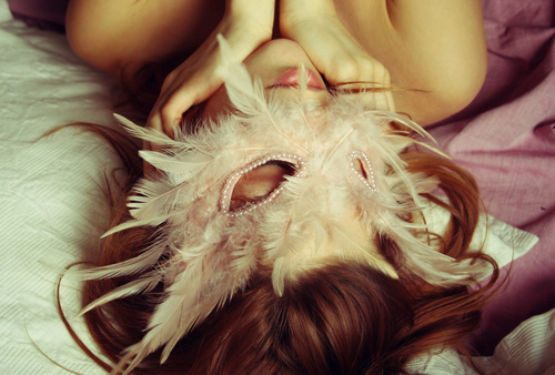 beautiful, feathers, girl, mask