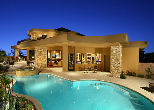beautifull, house, moonlight, pool