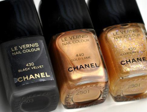 beauty, black, chanel, color, girly, glitter, gold, luxury, nail polish, nails