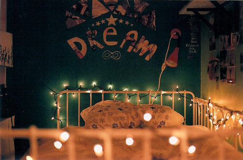 bed, bedroom, dream, lights