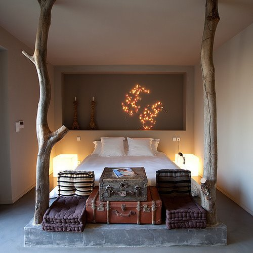 bed, bedroom, lights, room, super, tree