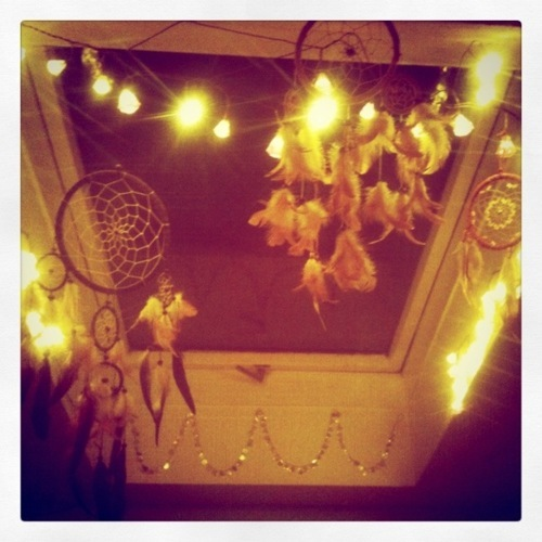 bedroom, cozy, dreamcatcher, lights, winter