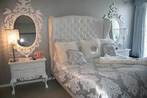 Sumptuous Bedroom Inspiration In Shades Of Silver: Bedroom, Cute, Room, Silver