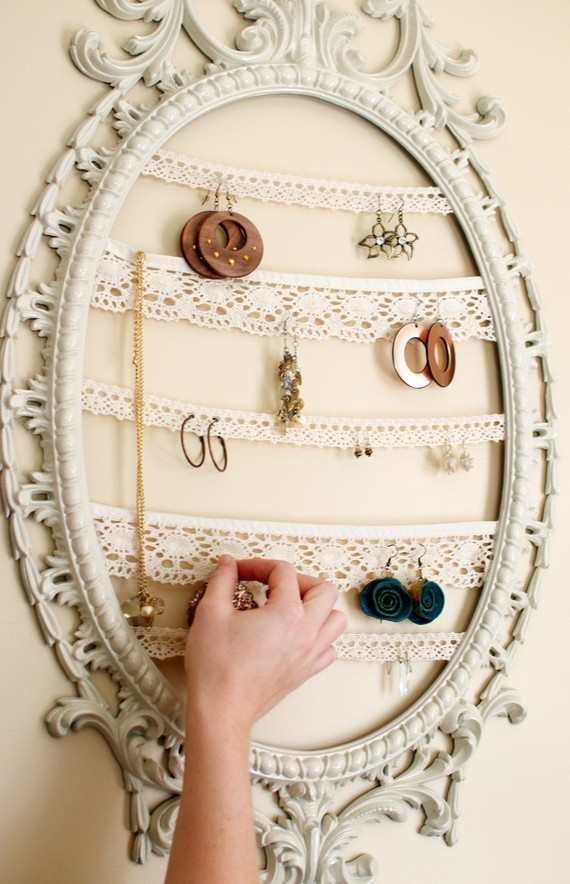 bedroom, decor, earrings, frame, jewelry, mirror, necklace
