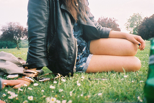 beer, black, blue, bracelets, clothes, fashion, girl, girls, grass, green, jacket, leather, legs, nature, photography, shorts, woman