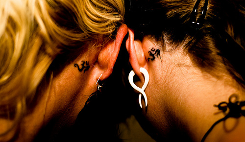 behind the ear, girls , piercing, tattoo